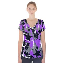 Purple Scene Kid Short Sleeve Front Detail Top