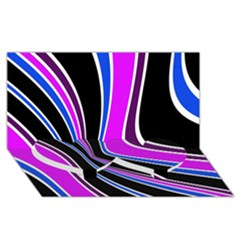 Colors of 70 s Twin Heart Bottom 3D Greeting Card (8x4)