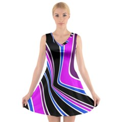 Colors Of 70 s V Neck Sleeveless Skater Dress