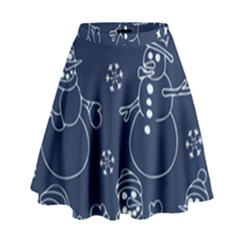 Winter Snowman Pattern High Waist Skirt