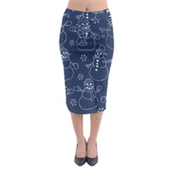Winter Snowman Pattern Midi Pencil Skirt