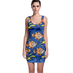 Blue Tang And Clownfish Tropical Ocean  Sleeveless Bodycon Dress