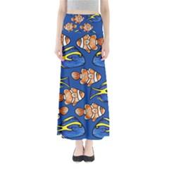 Blue Tang And Clownfish Tropical Ocean  Maxi Skirts