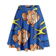 Blue Tang And Clownfish Tropical Ocean  High Waist Skirt
