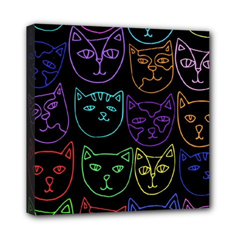 Retro Rainbow Cats  Mini Canvas 8  X 8