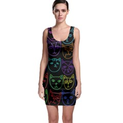 Retro Rainbow Cats  Sleeveless Bodycon Dress