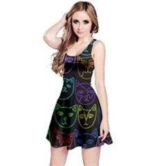 Retro Rainbow Cats  Reversible Sleeveless Dress