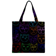 Retro Rainbow Cats  Zipper Grocery Tote Bag