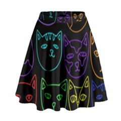 Retro Rainbow Cats  High Waist Skirt