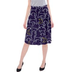 Cat And Moons For Halloween  Midi Beach Skirt