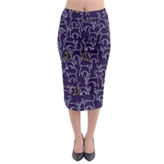 Cat And Moons For Halloween  Midi Pencil Skirt