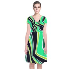 Colors Of 70 s Short Sleeve Front Wrap Dress