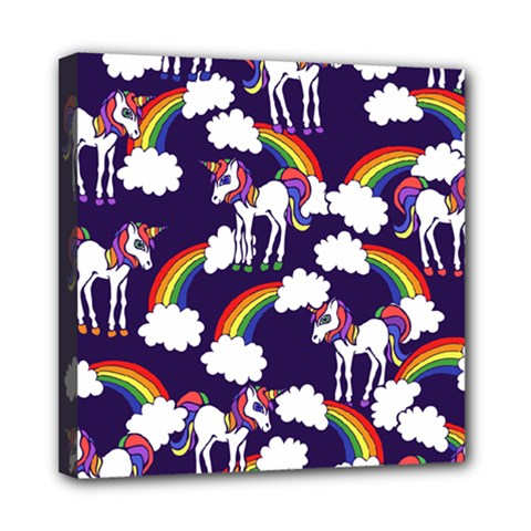 Retro Rainbows And Unicorns Mini Canvas 8  X 8
