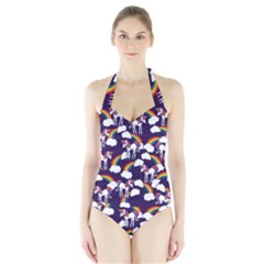 Retro Rainbows And Unicorns Halter Swimsuit