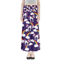 Retro Rainbows And Unicorns Maxi Skirts