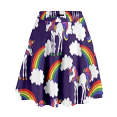 Retro Rainbows And Unicorns High Waist Skirt