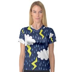 Thunderstorms Women s V-Neck Sport Mesh Tee