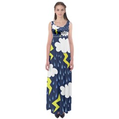 Thunderstorms Empire Waist Maxi Dress