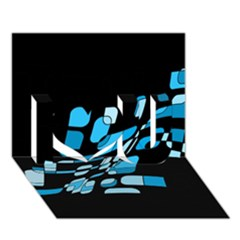 Blue Abstraction I Love You 3d Greeting Card (7x5)