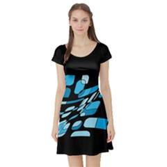 Blue abstraction Short Sleeve Skater Dress