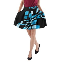Blue abstraction A-Line Pocket Skirt