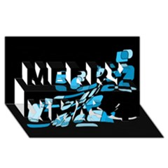 Blue abstraction Merry Xmas 3D Greeting Card (8x4)