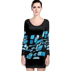 Blue abstraction Long Sleeve Bodycon Dress