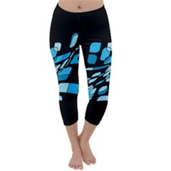 Blue abstraction Capri Winter Leggings