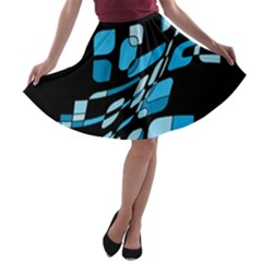 Blue abstraction A-line Skater Skirt
