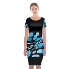 Blue Abstraction Classic Short Sleeve Midi Dress
