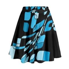 Blue Abstraction High Waist Skirt