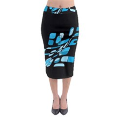 Blue Abstraction Midi Pencil Skirt