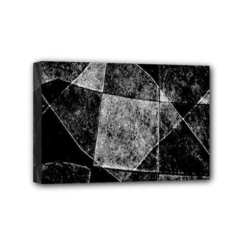 Dark Geometric Grunge Pattern Print Mini Canvas 6  x 4