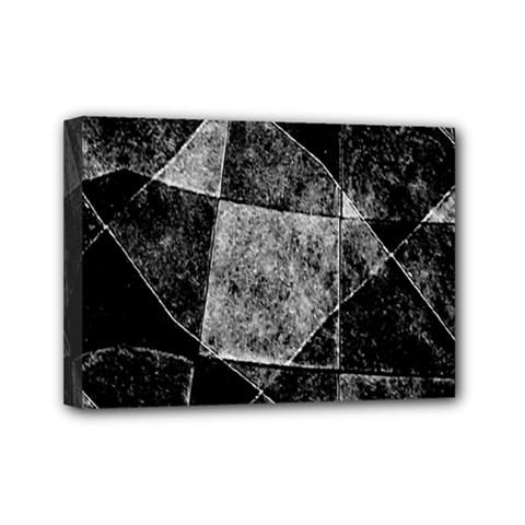 Dark Geometric Grunge Pattern Print Mini Canvas 7  x 5