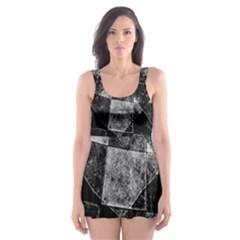 Dark Geometric Grunge Pattern Print Skater Dress Swimsuit