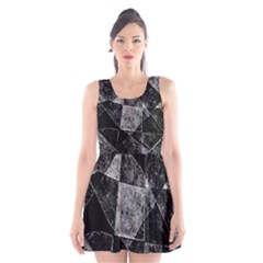 Dark Geometric Grunge Pattern Print Scoop Neck Skater Dress