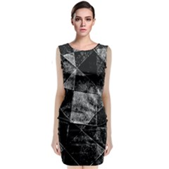 Dark Geometric Grunge Pattern Print Classic Sleeveless Midi Dress