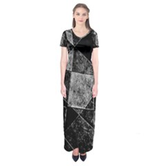 Dark Geometric Grunge Pattern Print Short Sleeve Maxi Dress