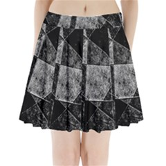 Dark Geometric Grunge Pattern Print Pleated Mini Mesh Skirt