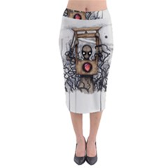 Guillotine Heart Midi Pencil Skirt