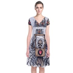 Guillotine Heart Short Sleeve Front Wrap Dress