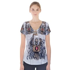 Guillotine Heart Short Sleeve Front Detail Top