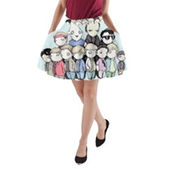 Goonies Vs Monster Squad A-Line Pocket Skirt