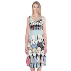 Goonies Vs Monster Squad Midi Sleeveless Dress