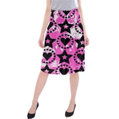 Star And Heart Pattern Midi Beach Skirt
