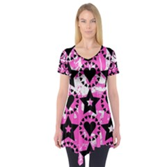Star And Heart Pattern Short Sleeve Tunic