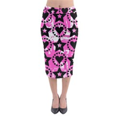 Star And Heart Pattern Midi Pencil Skirt
