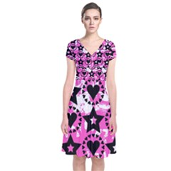 Star And Heart Pattern Short Sleeve Front Wrap Dress