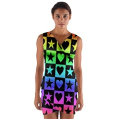 Rainbow Stars And Hearts Wrap Front Bodycon Dress