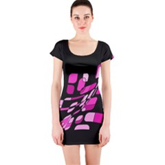 Purple abstraction Short Sleeve Bodycon Dress